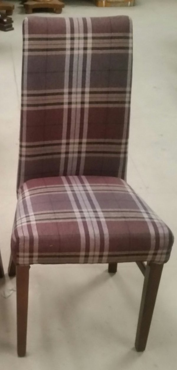 tartan fabric high back dining chairs