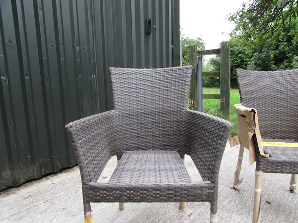 40x Brown Rattan Stacking Armchairs