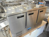 New Polar Stainless Steel 3 Door Bench Fridge