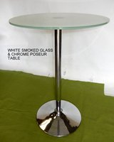 White Smoked Glass Top Poseur Tables