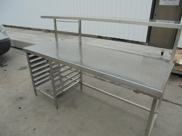 Stainless Steel Table & Gantry Shelf