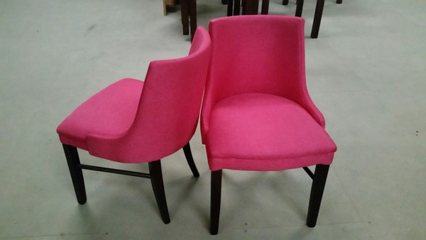 Pink Flat Weave Fabric Upholstered Chairs