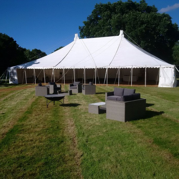 30m x 12m Weatherill Brothers PVC Traditional Marquee with Window Walls & Full Ivory Roof and Wall Linings