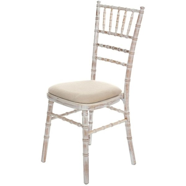 Brand New Lime-wash Chiavari Chairs with Ivory Seat Pads For Sale