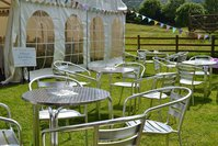 100 Cafe Style Aluminium Stacking Chairs & Tables (80 chairs & 20 Tables)