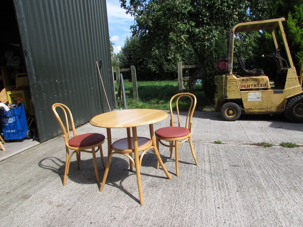 Blonde Bentwood Hoop Back Chairs And Tables