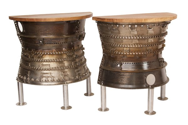 Pair of Console Tables Upcycled from Aircraft Combustion Chamber