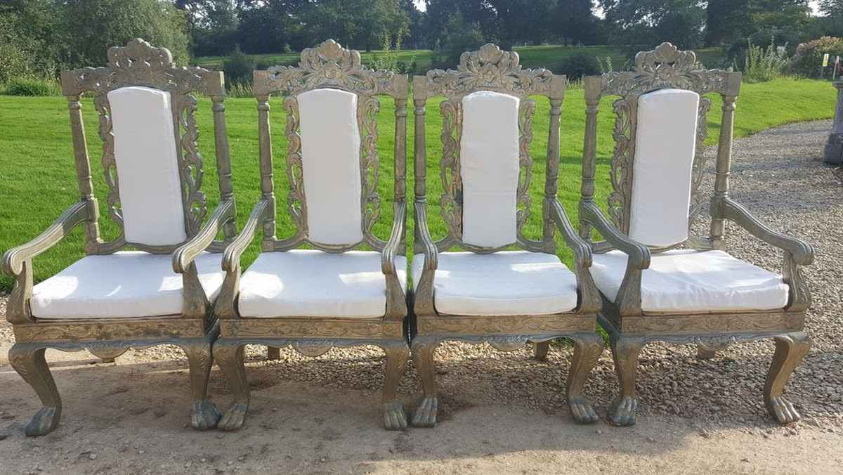secondhand prop shop over sized or over the top 4x wedding event antique throne chairs in. Black Bedroom Furniture Sets. Home Design Ideas