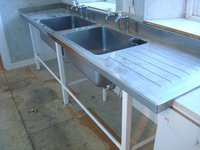 Benham London Commercial Stainless Steel Double Bowl and Drainer