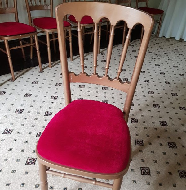 Gold Banqueting Chairs with Red Seat Pads