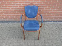 Stacking Chair with Arms and Blue Upholstery