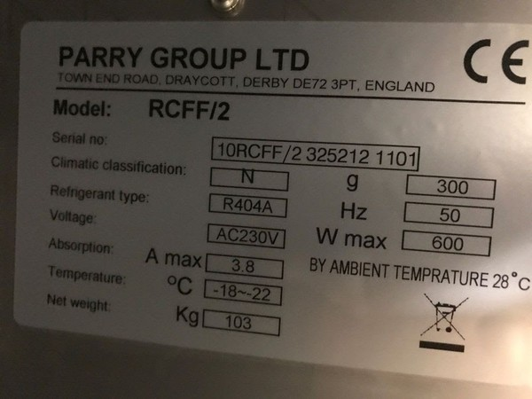 Parry RCF2 2 Freezer 2 door counter unit