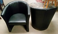 Black leather tub chairs for sale