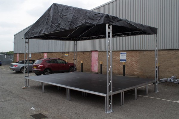 New portable stage and stage roof