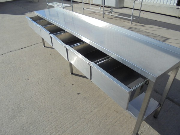 Steel table with drawers for sale