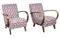 Pair of Czech Art Deco 1930's Armchairs by Jindrich Halabala