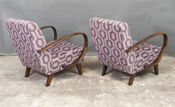Two Czech Art Deco 1930's Armchairs by Jindrich Halabala