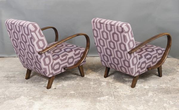 Two Czech Art Deco 1930's Armchairs by Jindrich Halabala