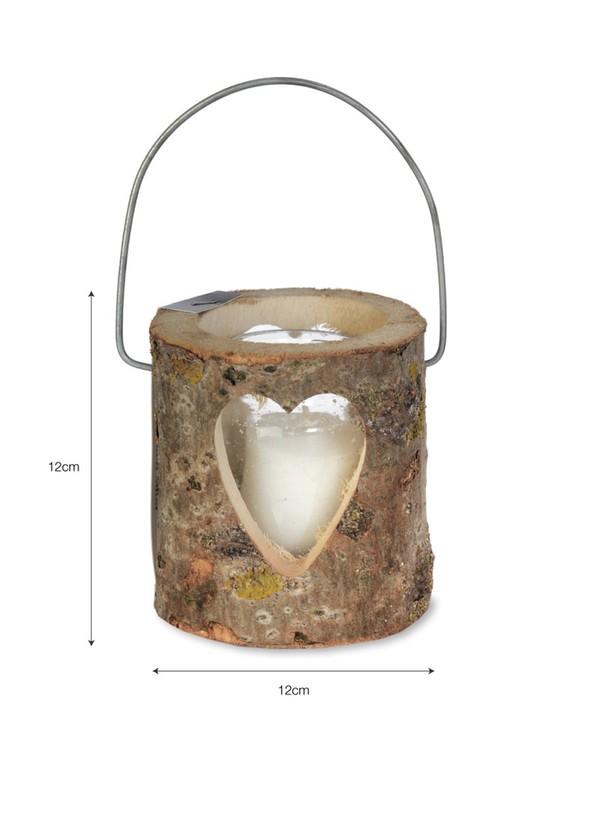 Wooden candle heart votive