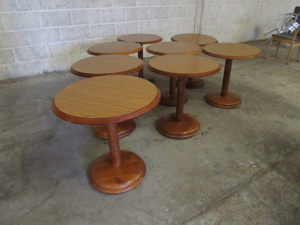 7x walnut coloured wood tables somerset