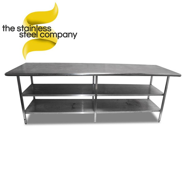 Used stainless steel bench with shelves
