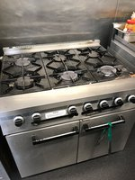 Six hob used commercial oven