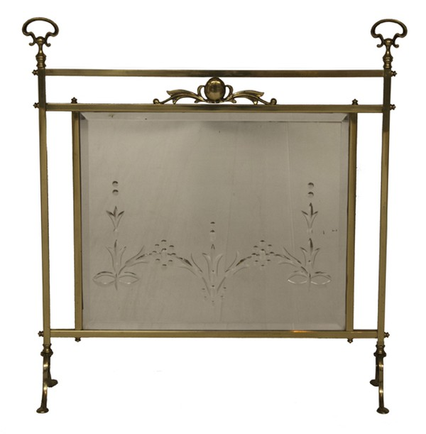 Brass Fire Screen with Beveled Mirror Panel c.1900