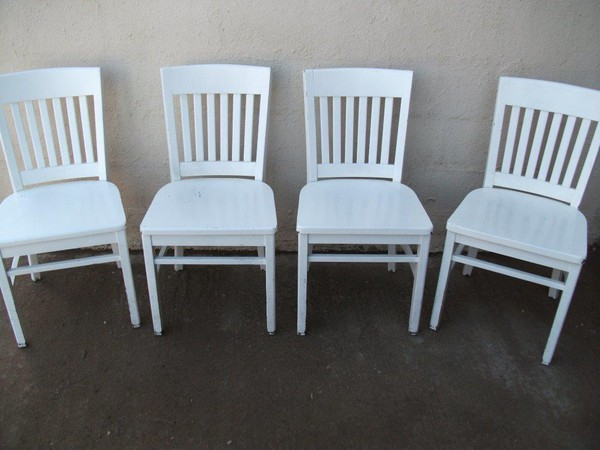 Used white wooden cafe chairs for sale