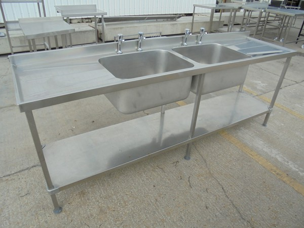 Commercial steel double sink