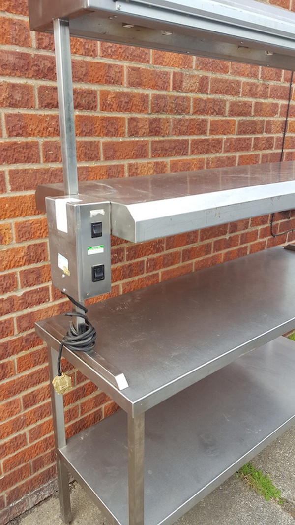 Commercial Stainless Steel Table with Heated Gantry / Pass
