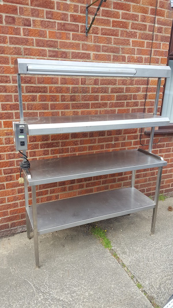 Professional Stainless Steel Table with Heated Gantry / Pass