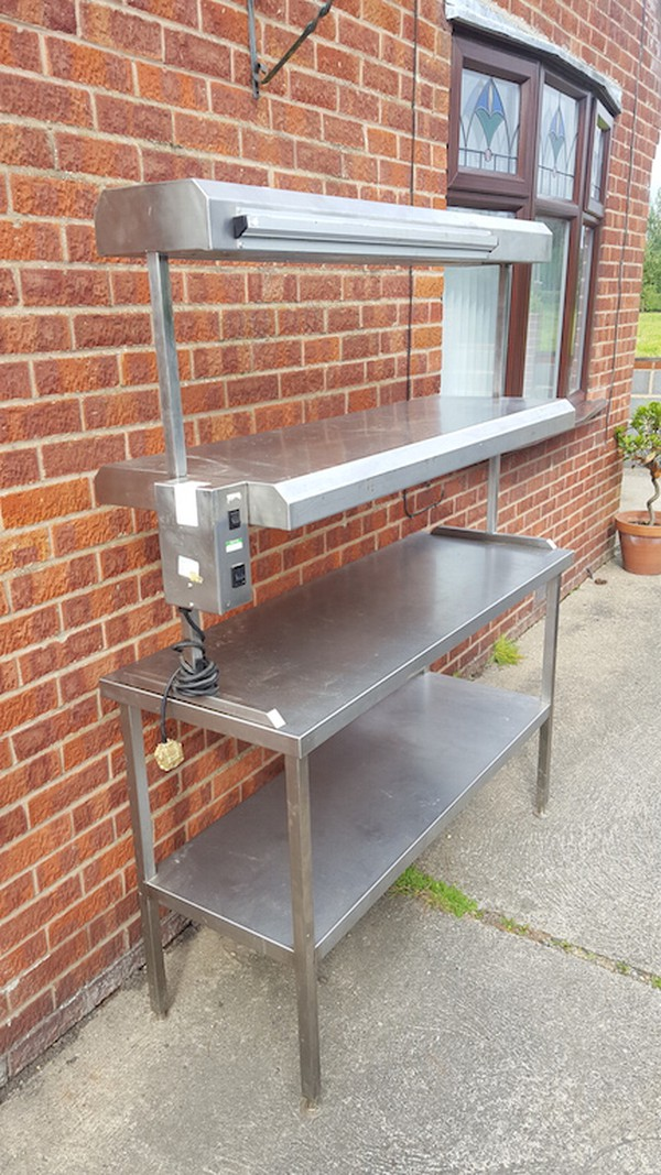Second Hand Stainless Steel Table with Heated Gantry / Pass