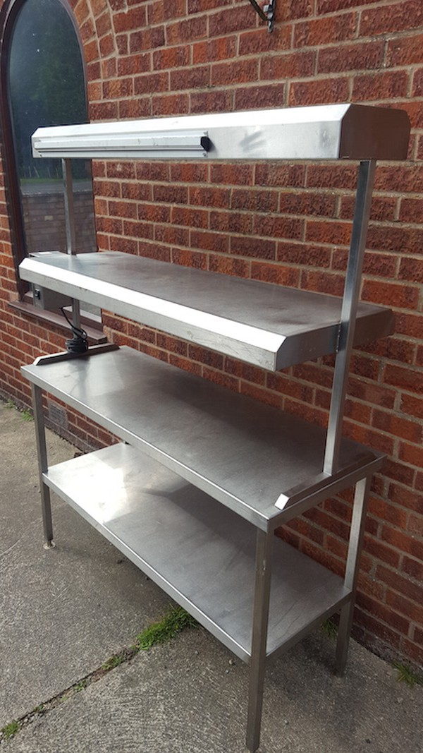 Used Stainless Steel Table with Heated Gantry / Pass
