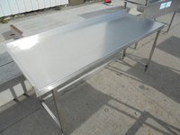 Stainless steel catering tables with up stand.