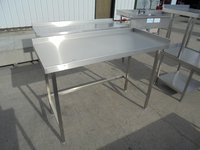 Stainless steel table with upstand back and right