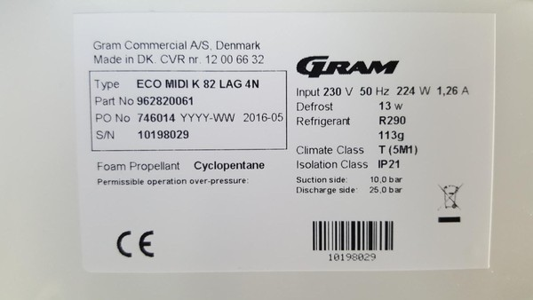 Secondhand gram upright fridge