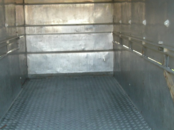 Inside cattle trailer