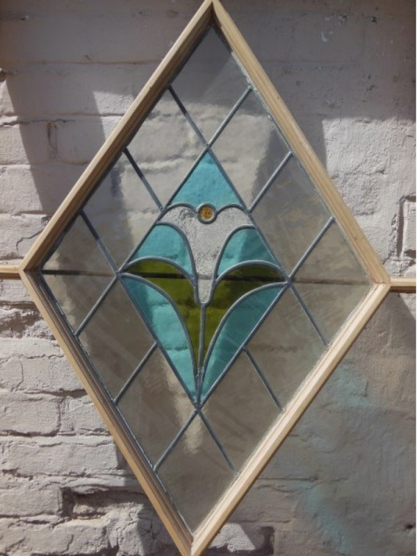 Glass door with partially stained glass