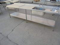 Used stainless steel double bowl sink table
