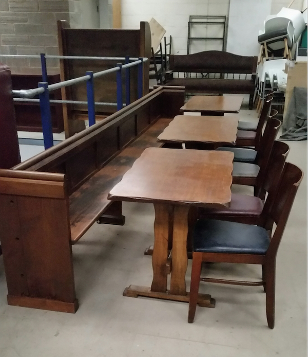 Church pew tables and chairs for sale