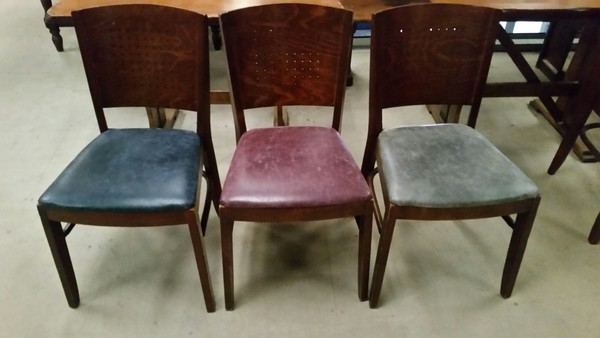 Wooden job lot tables chairs pew