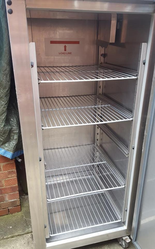 upright steel fridge