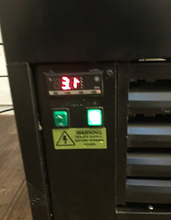 Digital fridge controls.