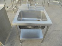 Single bowl sink with stand and shelf