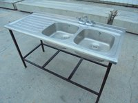 Used Stainless Steel Double Bowl Sink (5862)