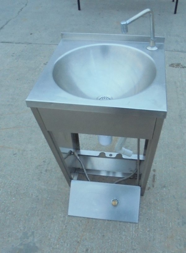 Used Stainless Steel Freestanding Foot Operated Hand Sink