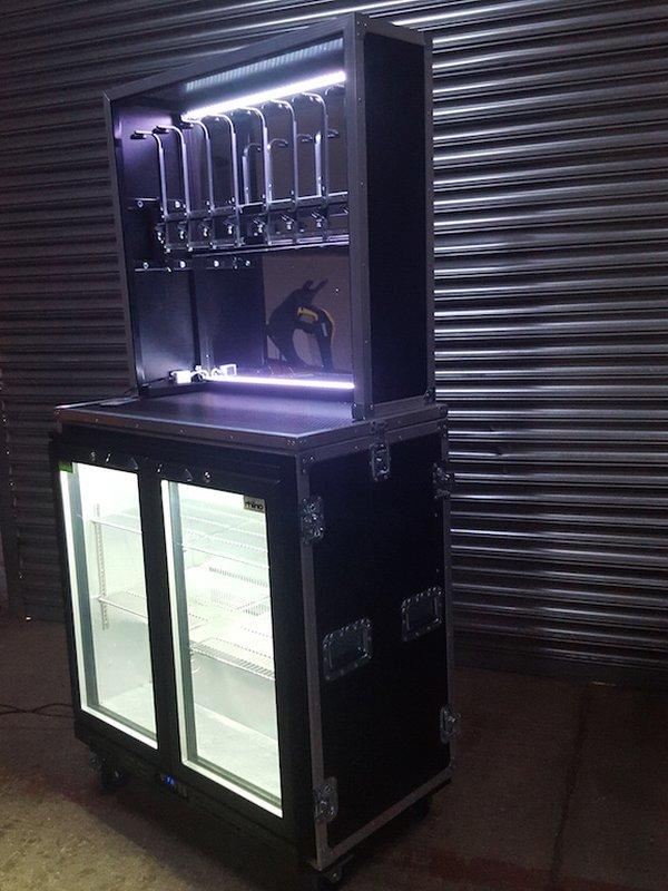 Events Bar Flight Case with Bottle Cooler/Bar Fridge and Optic Unit