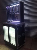 Events Bar Flight Case with Bottle Cooler/Bar Fridge and Optic Unit