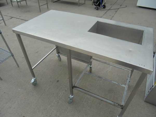 Used stainless steel table with wet well for sale