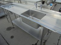 Used stainless steel single bowl dishwasher sink 130cm
